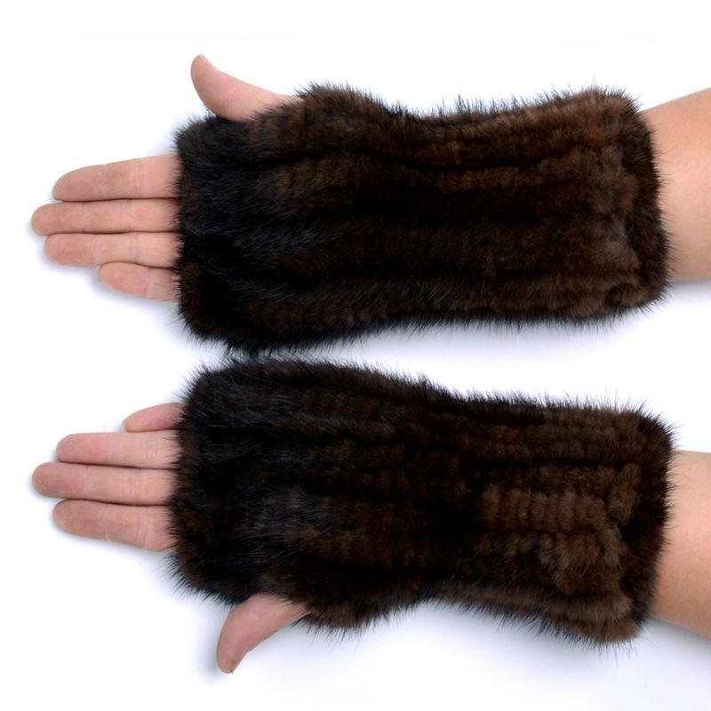 Зимни норки кожени ръкавици за жени високи истински ръкавици от кожа 2017 Нови жени 20CM модни истински ръкавици трикотажни норки кожа без пръсти