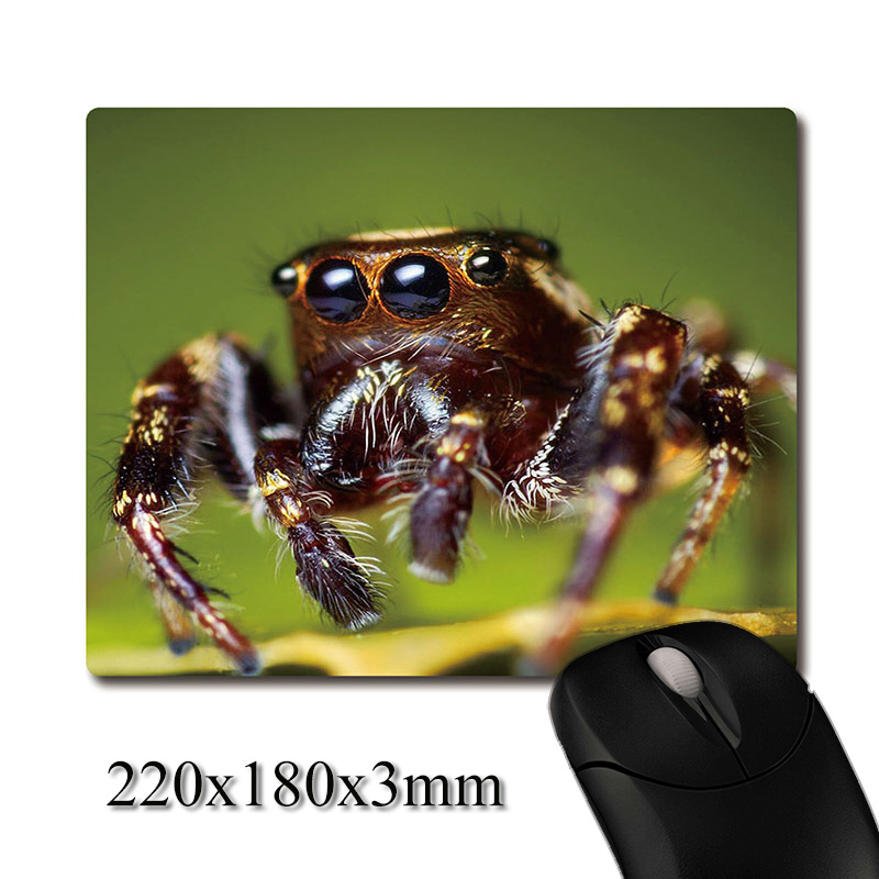 Hunting spider close-up image printed Heavy weaving anti-slip rubber pad office mouse pad Coaster Party favor gifts 220x180x3mm close-up