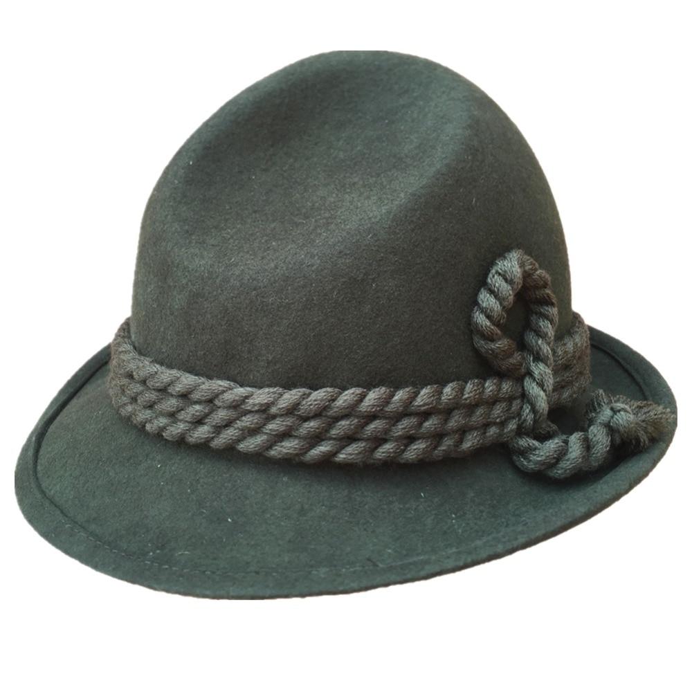 German Tyrolean Hat Oktoberfest Wool Bavarian Alpine Felt Hat Chapeau Fedora Rope Hat Army Green