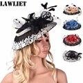 A372 Мода Sinamay Женщины Диадемы Лоскутное Кружева Перо Леди Головные Уборы Пати Свадьба Hat