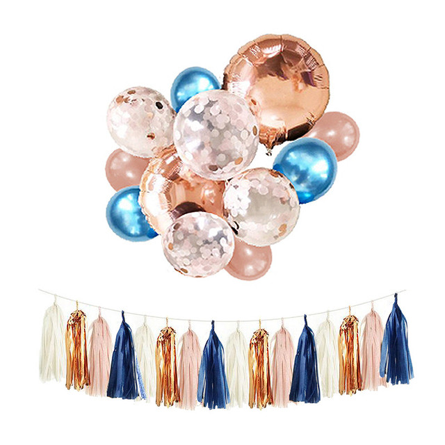 1 Set Navy Blush And Rose Gold Balloons 12inch Metal Blue Confetti Balloon Bouquet Bundle Fall Autumn Wedding Birthday Decor