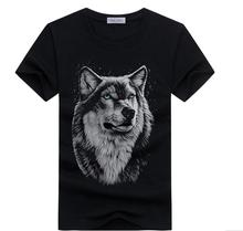 Men's summer clothing T-Shirt White T shirt Casual Cotton Wolf Printed Cartoon Short Sleeve Tee Shirt Men Brand Tee shirt 5XL