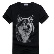 Men s summer clothing T Shirt White T shirt Casual Cotton Wolf Printed Cartoon Short Sleeve