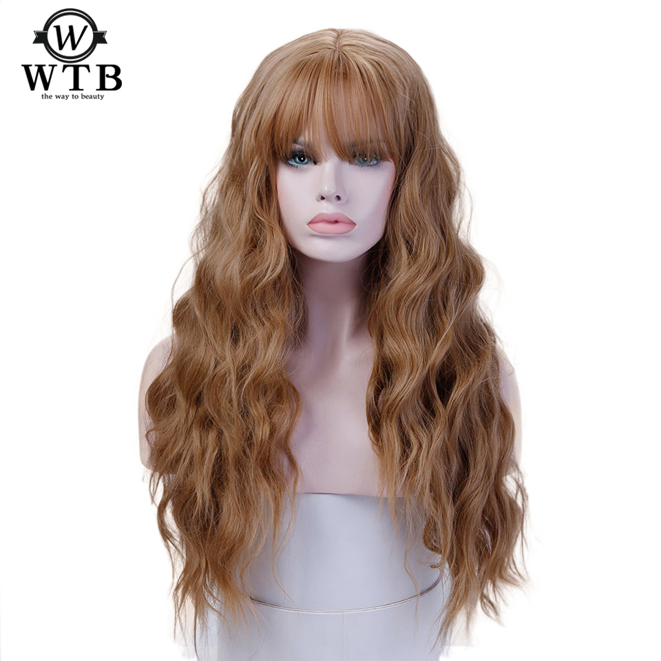 """WTB angel grace hair Womens 26"""" Long wavy African American Heat Resistant Wig with Bangs Synthetic Kinky Curly Wigs for Women"""