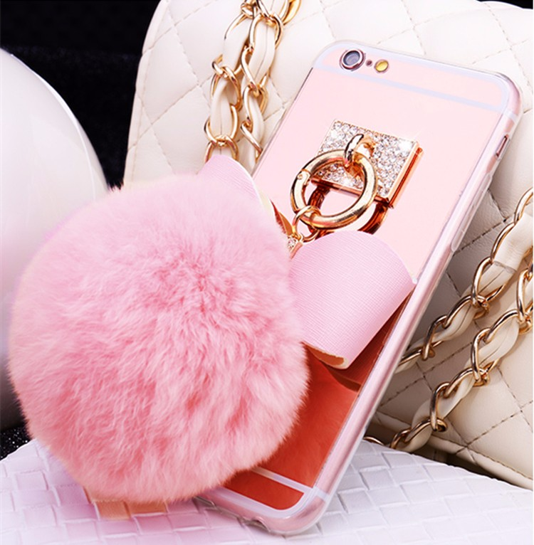 Newest Luxury Rabbit Hair Ball <font><b>Ring</b></font> <font><b>Phone</b></font> Cases Covers For Apple iphone 8 4.7 inch <font><b>Mirror</b></font> Fundas Capa Drop Shipping