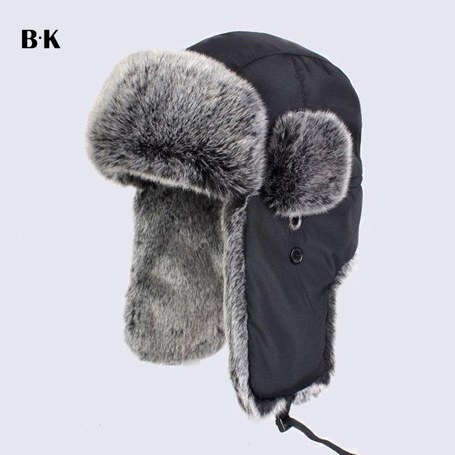 3ebfdcf39dd Thicken Winter Warm Proof Trapper Hat Ear Flaps Bomber Caps Unisex Faux Fur  Aviator Snow Hat Cycling Hats