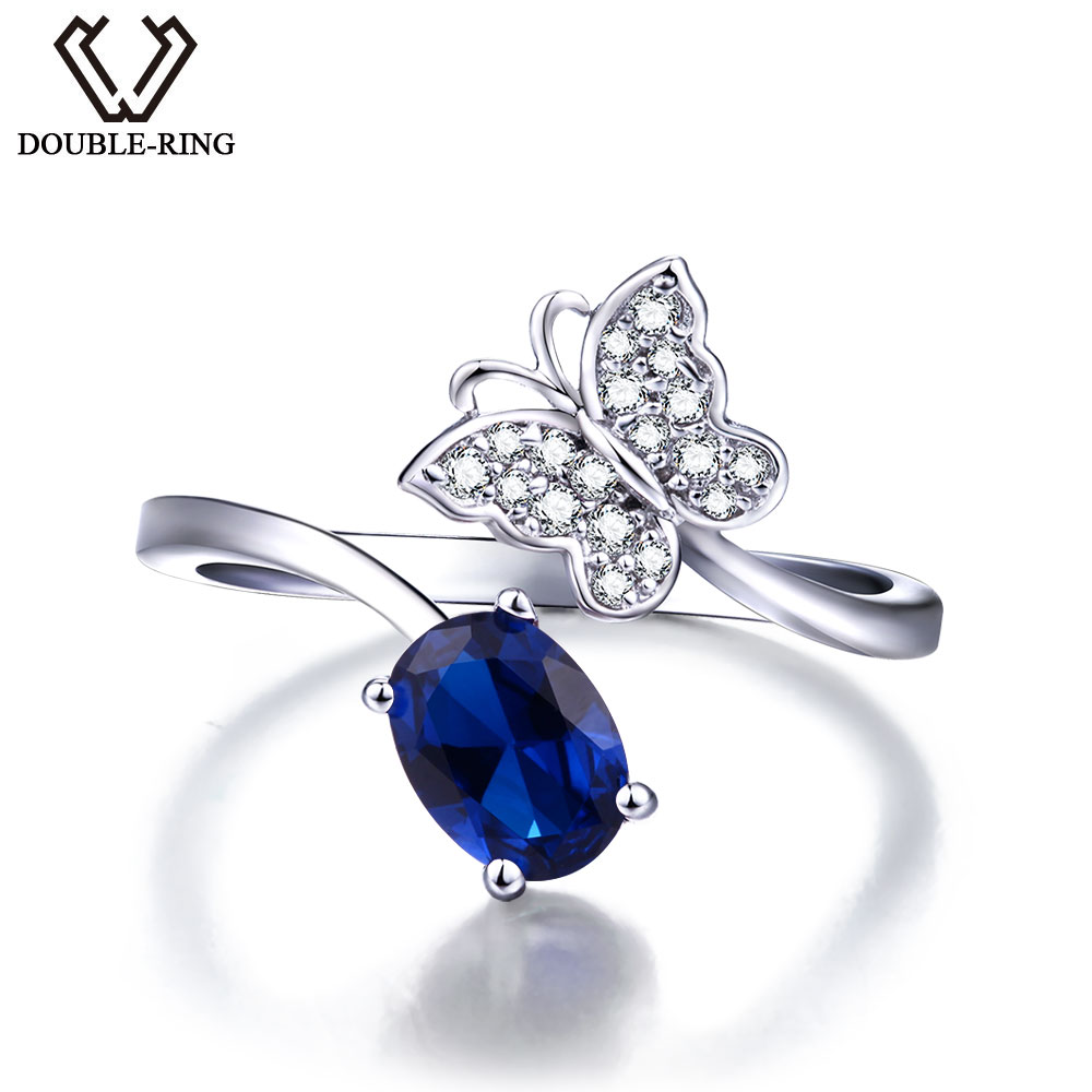 DOUBLE R 925 Sterling Silver Created Sapphire Gemstone butterfly Ring