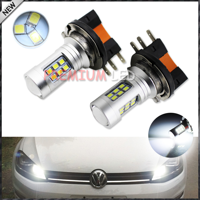 iJDM High Power Xenon White LED 2835-SMD H15 LED Bulbs  For Audi BMW Mercedes Volkswagen For Daytime Running Lights 7000k xenon white 16w high power led daytime running lights kit for bmw 2010 2013 f10 528i 535i 550i m tech bumper only