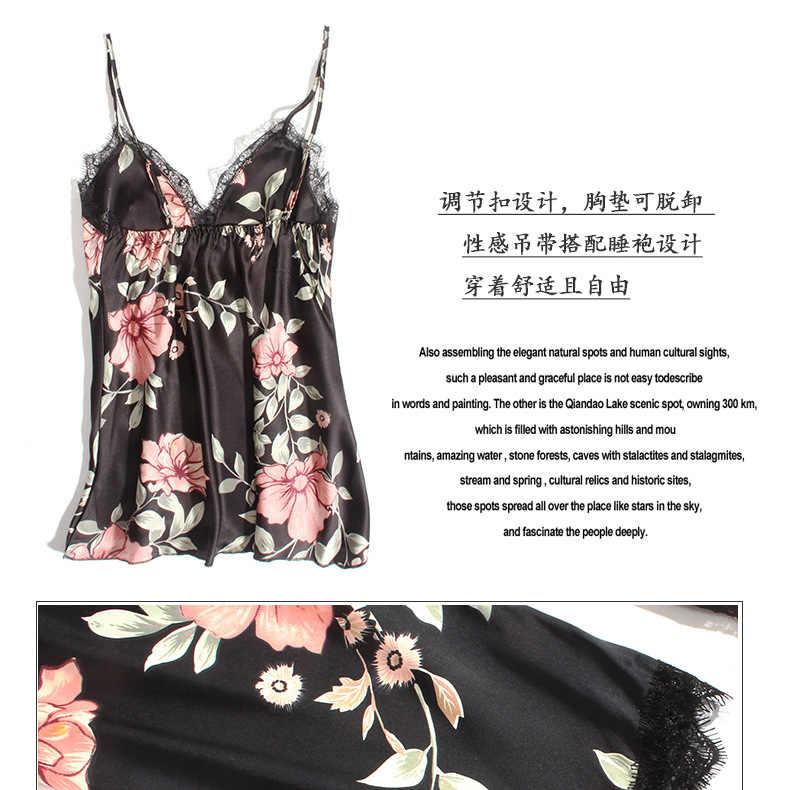 Kualitas Tinggi Wanita Piyama Renda Seksi 5 PC Baju Tidur Wanita Musim Panas Satin Piyama untuk Wanita Pijama Kimono Sutra Elegan Piyama