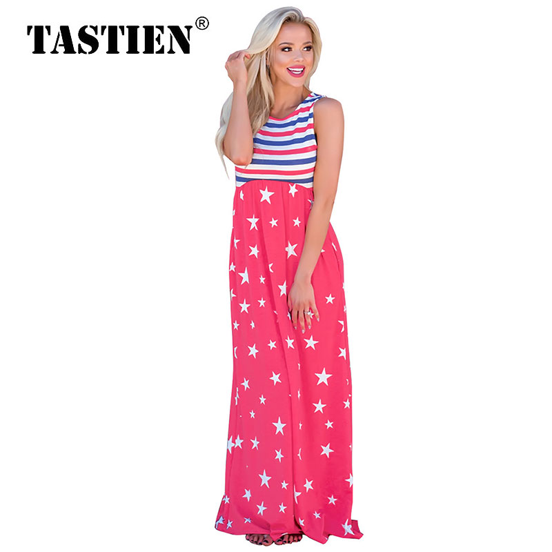 TASTIEN <font><b>Star</b></font> Printed Women Long Dresses Pachwork <font><b>2018</b></font> New Fashion Summer <font><b>Ladies</b></font> Dress Cute Sleeveless <font><b>Sexy</b></font> Woman Pencil Dresses image