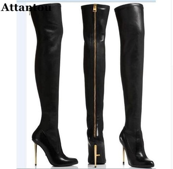 new fashion pointed toe over the knee boots studded thigh high boots wood thick heels long boots woman rivets boots wedge boots