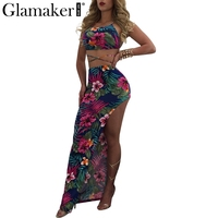 Glamaker Summer Sexy Women Dress Adjustable Strap Backless Lace Up Beach Split Dress Floral Night Club