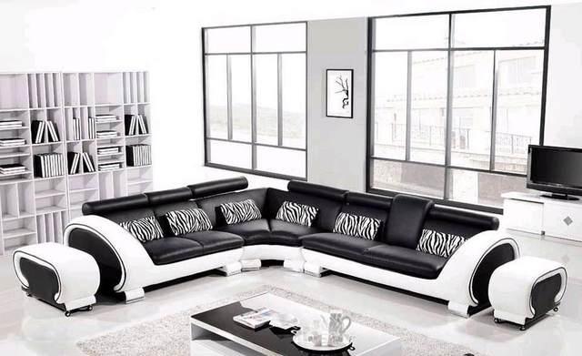 Free Shipping Large L Shaped Genuine Leather Hard Wood Frame Corner Leather  Sofa Classic Black U0026 White Modern Sofas L8065 3