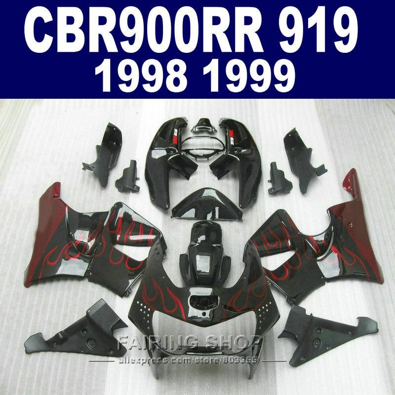 Cheap Fairing kit For honda CBR900 RR 919 1999 1998 red flames Fairings cbr 900rr 98
