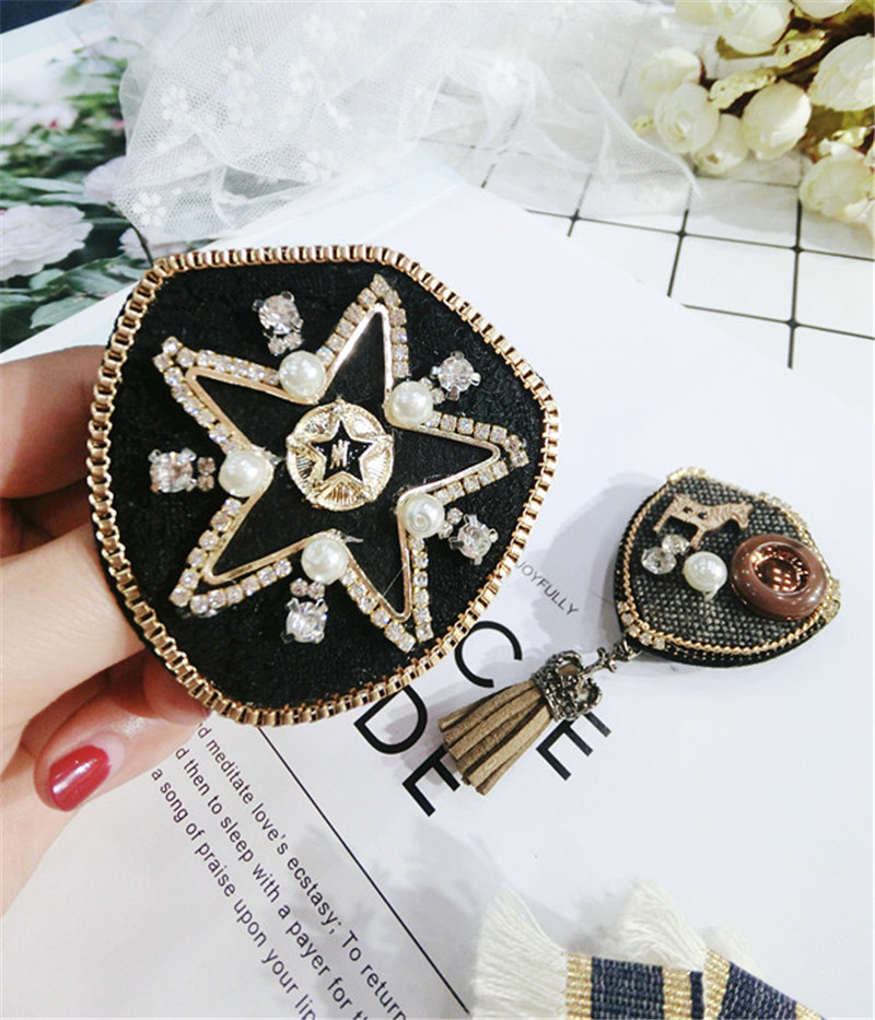 Korea Handmade Vintage Cartoon Shield Star Rhinestone Pearl Badge Brooches Pins Fashion Jewelry Woman Accessories JQGWBH049E in Brooches from Jewelry Accessories