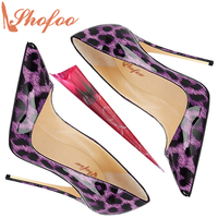 Shofoo Woman Sexy Purple Lepoard Prints Pleather Pointed Toe High Customize Heels Pumps Women Shoes Stilettos