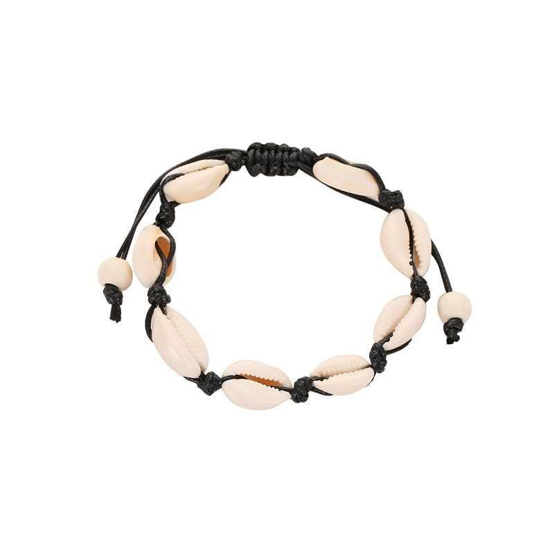 Czeski naturalny Sea Shell muszla obrączki dla kobiet kostki bransoletka na nogę łańcuch srebrny powłoki złota Boho Anklet plaża stóp biżuteria