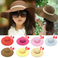 2015 Retail 7 Colors Summer Children Solid Simple Elegant Large Brimmed Straw Hat Baby Girls Beach