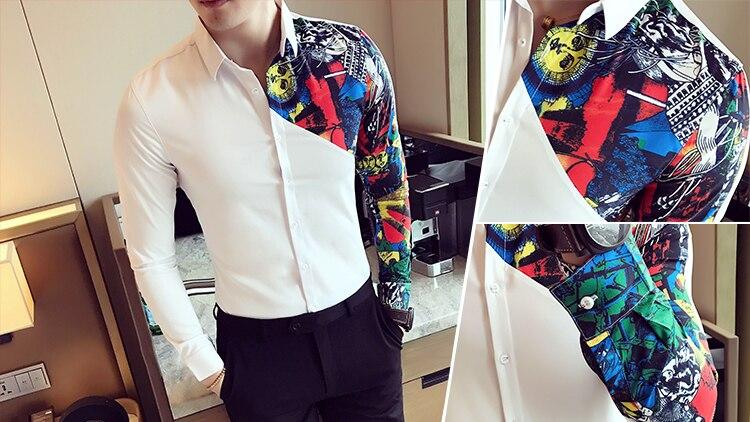 705555918e8 Контрастный принт рубашка Акула свадьбу социальной рубашка для Для ...