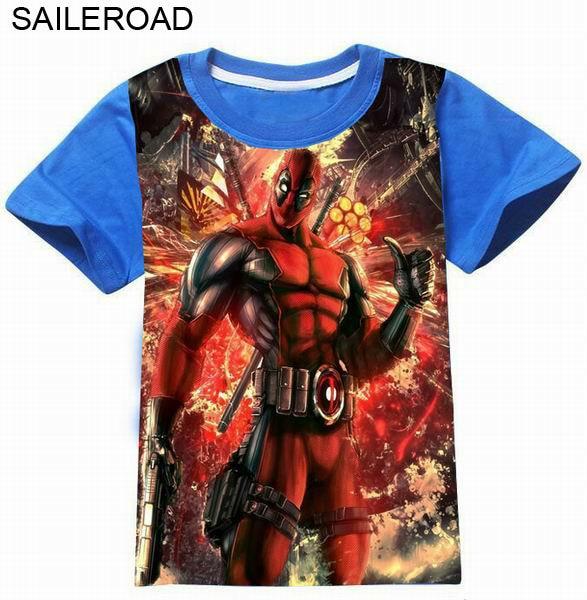 SAILEROAD 3-11Years 3D Cartoon Deadpool Print Children Boys T Shirt Summer High Quality Baby Kids Boys Girls T Shirt Clothes