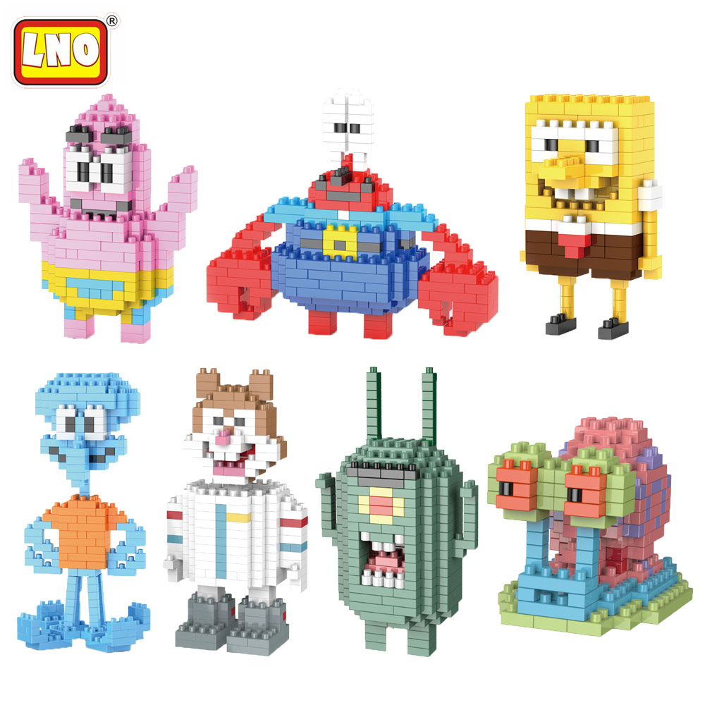 LNO Nano Blocks Funny Anime Cartoon Gary Model Building Brick Micro Figures Toy 3D Animals Patrick Star Educational Toys For Kid loz diamond blocks assembly display case plastic large display box table for figures nano pixels micro blocks bricks toy 9940