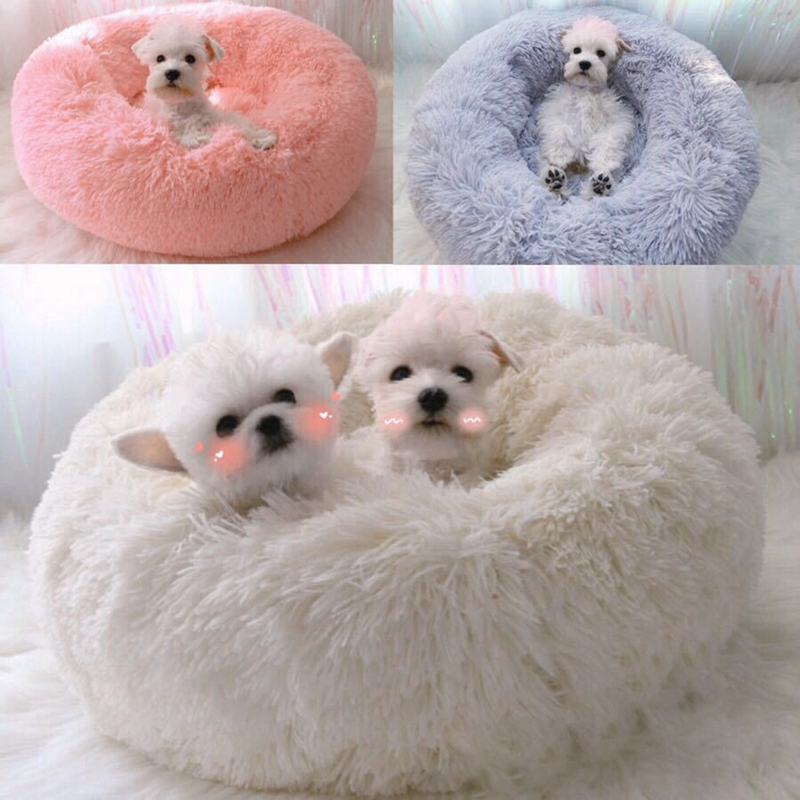 40-100CM Warm Fleece Plush Dog Bed Donut Cat Bed Warming Indoor Round Pillow Cuddler Faux Fur Dog Beds Kennel Medium Small Dog image