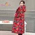 2017 Novo Inverno Longo Casaco de Algodão-acolchoado Jaqueta Plus Size da Cópia Floral das Mulheres Casacos & Coats Vermelho Chinês Casaco estilo