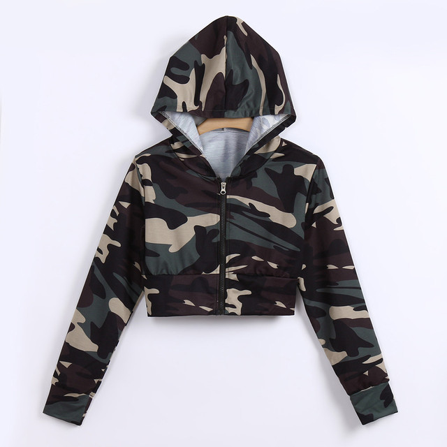 5c13fc3f Womens Fashion Camouflage Print zipper hoodie women sexy Long Sleeve Shirt  Blouse Hooded Short cropped tumblr sweatshirt busos