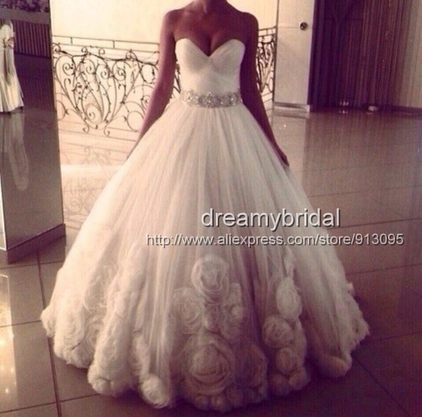 2014 Fashionable Pinterest ball gown white Wedding Dresses Tulle ...