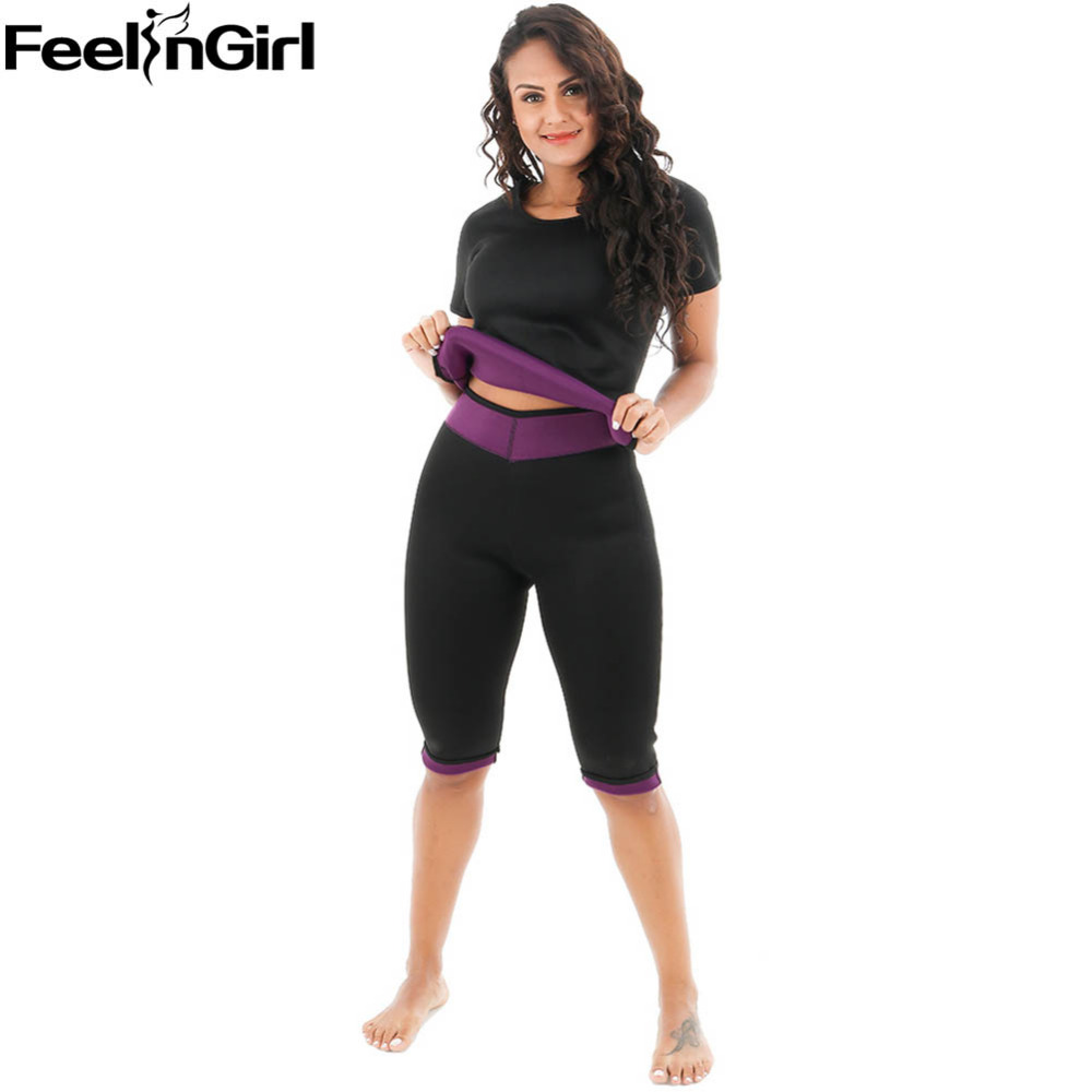 FeelinGirl Neoprene Vest Sauna Sweat Shirt Body Shapewear Set for Weight Loss Slimming Pants Push Up Waist Trainer Corset -C