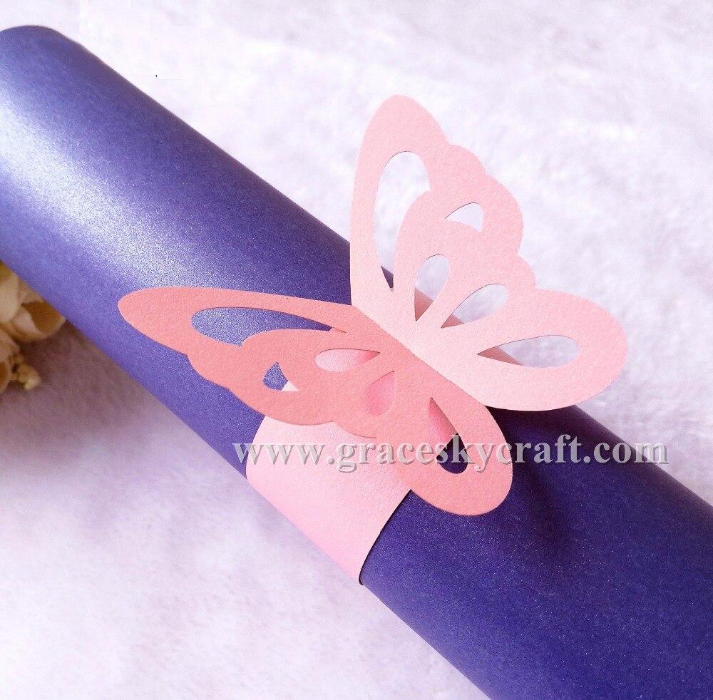 50pcs Free Shipping Towel Buckle Laser Cut Paper DIY Napkin Rings ...