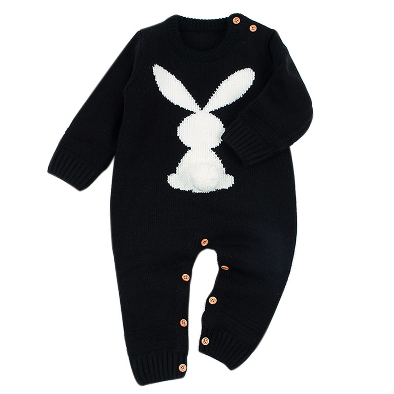 Knitted Rabbit Tail Patchwork   Romper   Newborn Infant Baby Boy Girl Weave Long Sleeve   Rompers   Jumpsuit Outfits Clothes