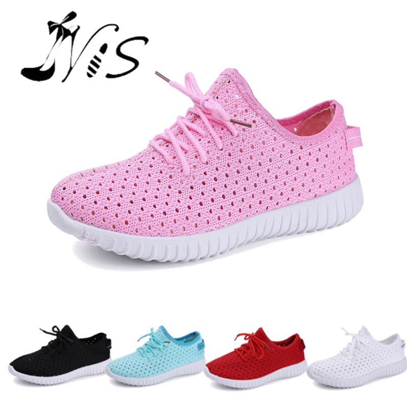 NIS Women Air Mesh Shoes, Pink/Black/Red/Blue/White Flat Casual Shoe, Breathable Hollow Out Flats, Ladies Soft Light Zapatillas  nis women air mesh shoes pink black red blue white flat casual shoe breathable hollow out flats ladies soft light zapatillas