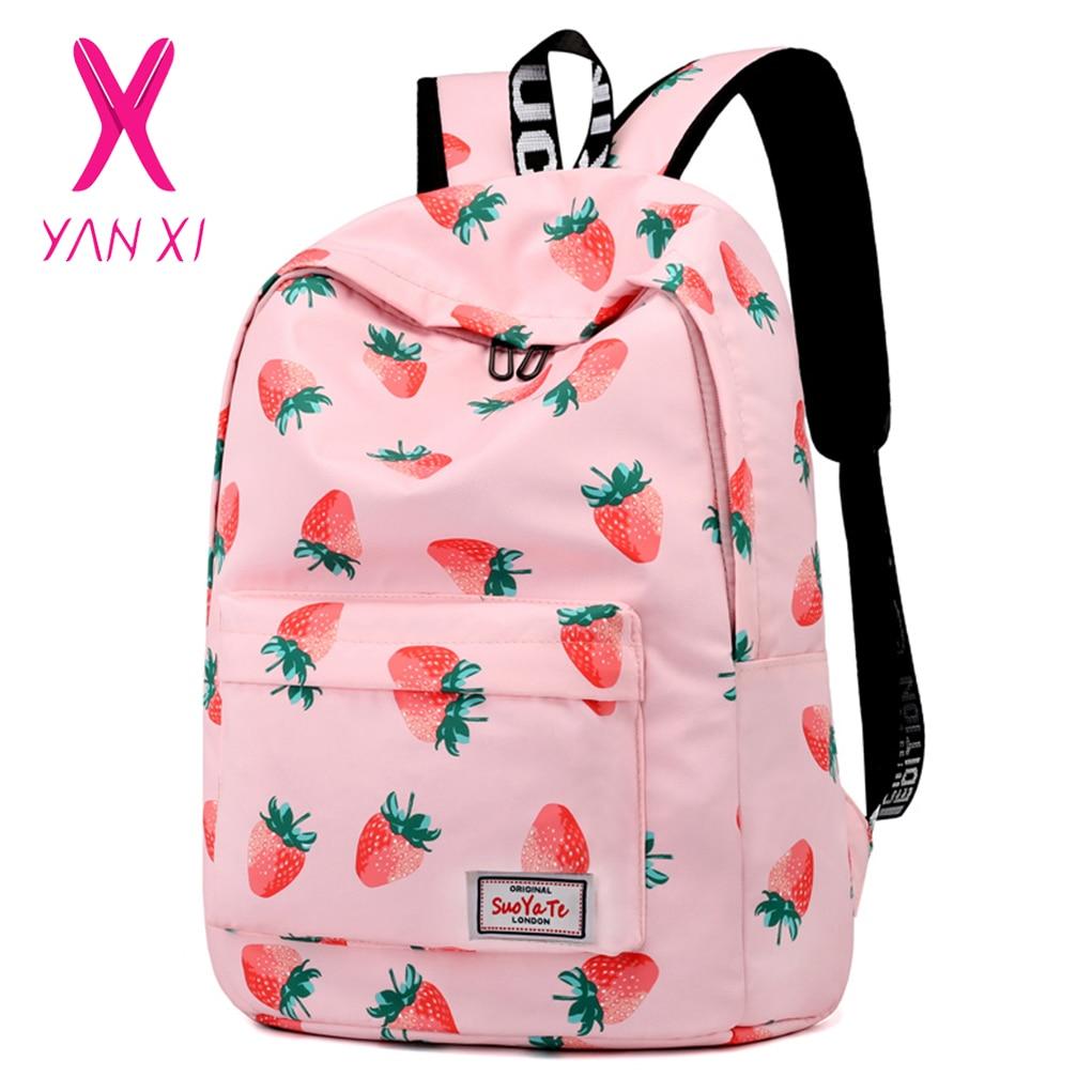 Yanxi Casual Women Backpack School Backpacks Bags Back Pack For Teenagers Girls Laptop Backbag Travel Bagpack Strawberry Bag