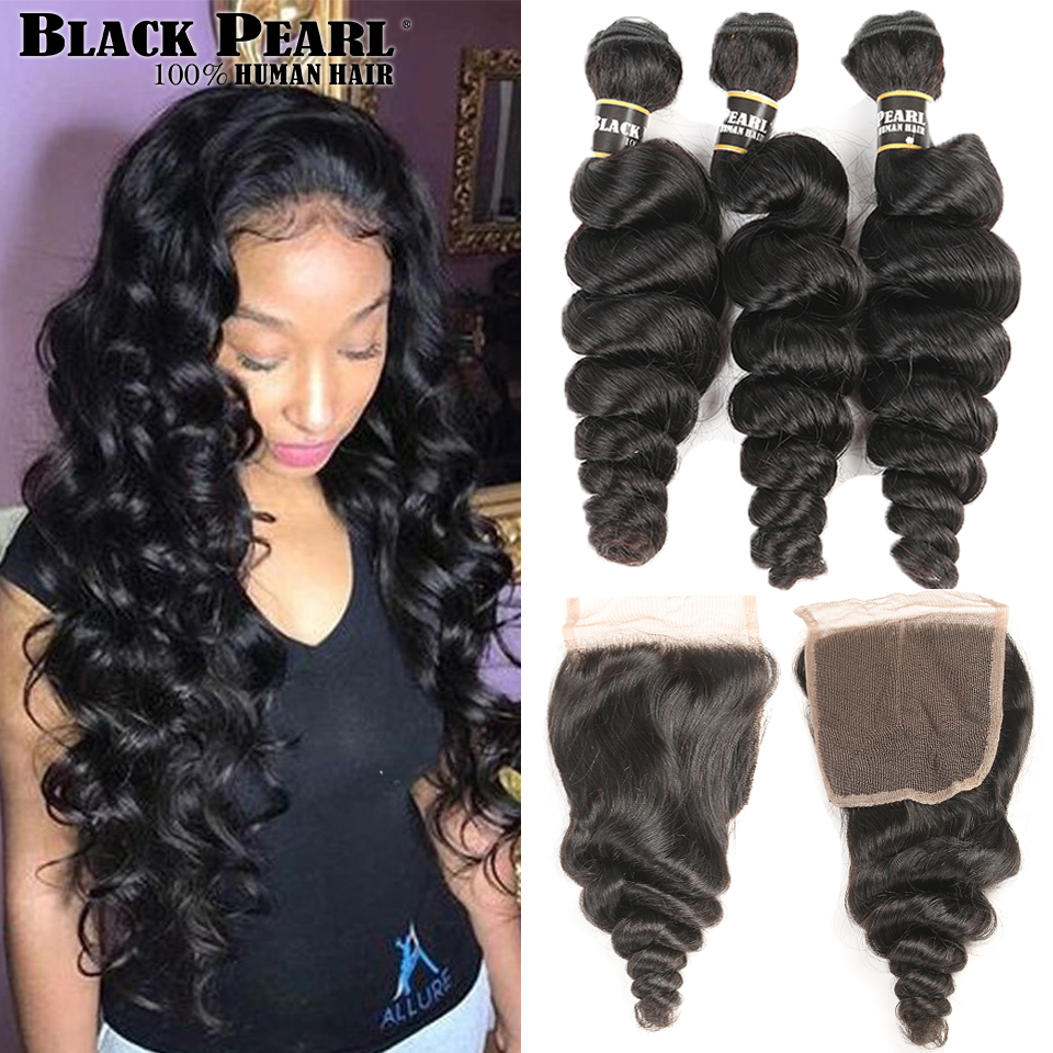 Black Pearl Forfarvede Non-Remy Human Hair Bundles Med Closure Loose - Menneskehår (sort)