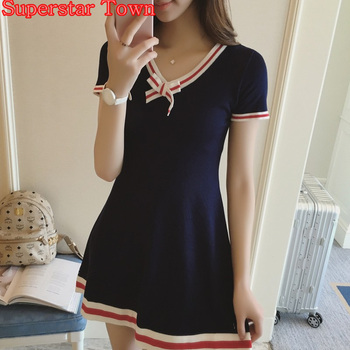 Navy Blue Knitting Dress Bow V neck Short Sleeve Cute Uniforms Lolita Dress Preppy Style Female Summer Dresses Harajuku Vestidos Платье