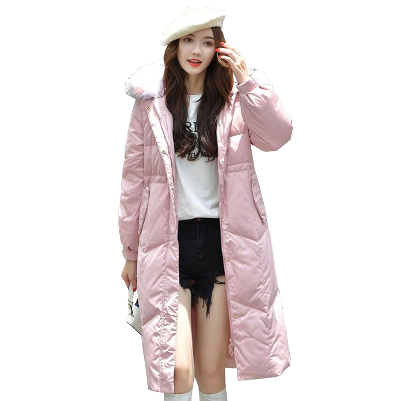 Women Winter Jacket 2018 Fashion White Duck   Down   Jacket Slim Hooded Warm Real fur collar   Down     Coat   Long Outerwear Parka