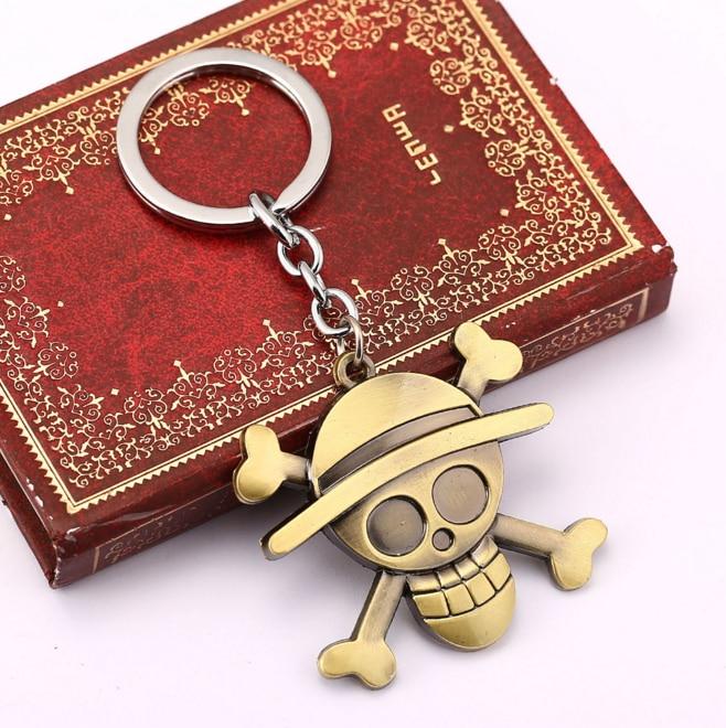 1Pcs/set New Anime One Piece Luffy Straw Hat Copper Key Ring Tone Zinc Alloy Keychains Kids Toys Pendants one set 4 pcs 95mm