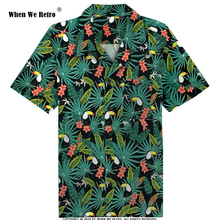 When We Retro 2019 New Toucan Floral Print Men Shirt ST124 Short Sleeve Palm Springs Cocktail Button Up Shirts camiseta hombre