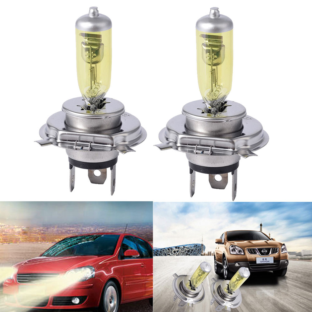 2PCS 3000k 55 60w 100 90w H4 P43T Pure Yellow Car Xenon Halogen Headlight Bulbs Fog