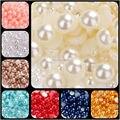 Envío gratis 1000 unids mixta 2 3 4 5 6 8 10mm resina ABS perlas de imitación mitad flatback redondo de la perla granos de la joyería DIY decoración