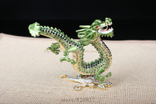 crystal dragon trinket box chinese dragon textured decorative rhinestone enamel gift display cases dragon design keepsake