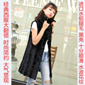 long natural real piece mink fur vest  women long jacket overcoat Women's Clothing winter