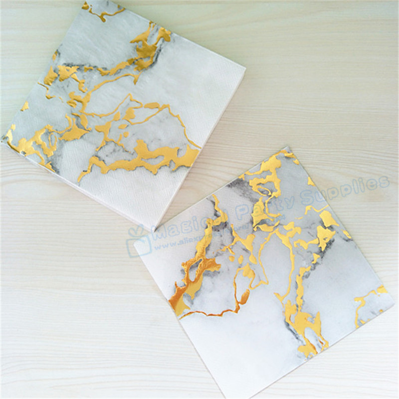Free Ship 100pcs Grey Marble with Gold Foil Paper Napkin Birthday Wedding & Engagement Party Supply Tissue Serviettes