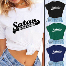 2QIMU Women Printed Satan is my Daddy Loose Fashion Summer Casual O-Neck Tshirt Tops Short-sleeved Top Tees for Women