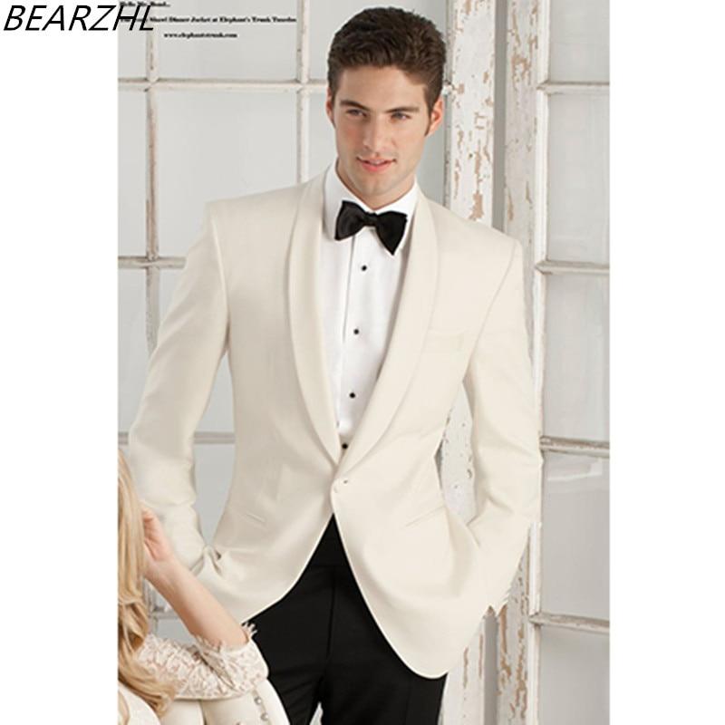 Mens Cream Suits For Wedding Groom Tuxedo For Groom Suit