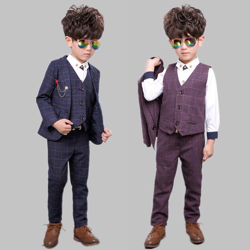 2017 New Children Suit Baby Boys Suits Kids Blazer Boys Formal Suit For Weddings Boys Clothes Jackets+Vest+Pants 3pcs 2-14Y