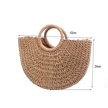 BRIGGS New 2018 Summer Beach Bag Hand Woven Straw Bags Fashion Women Casual Tote Large Capacity Shopping Bags Women Handbags 4
