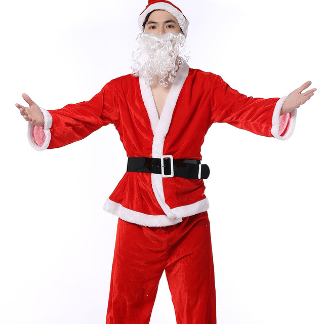 arrival plus size adult costume santa claus cosplay suit christmas costumes for men coat pants beard