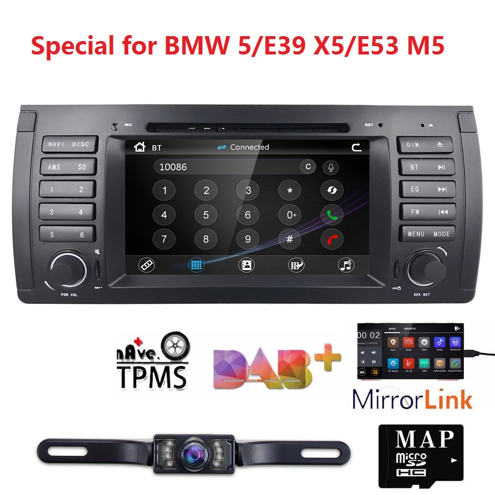 7' wince Car Monitor DVD For BMW E39 E53 X5 With GPS Navigation RDS SD Subwoofer steering wheel Bluetooth DVR DAB+DVB T FREE MAP